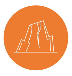 Mountain with ledges icon in thin line style vector