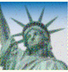 national icons statue liberty pixel art style vector image