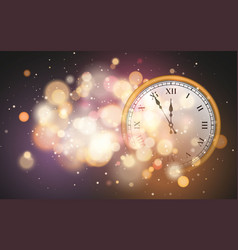 new year poster with old circle clock and bright vector image
