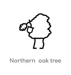 Outline northern oak tree icon isolated black vector