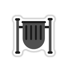 Park trash urn in paper vector