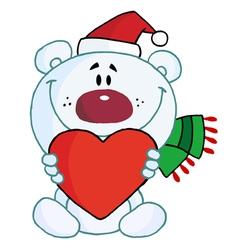 polar bear holding a heart vector image