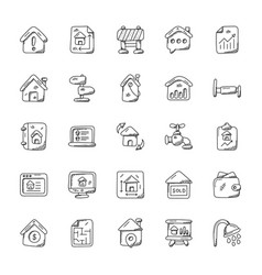 real estate doodle icons set vector image