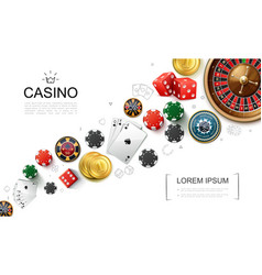 realistic casino elements concept vector image