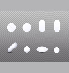 realistic white medical pill icon set of vector image