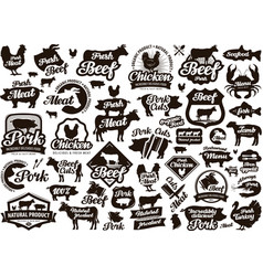 Restaurant cafe logo food meat or menu vector