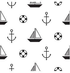 Sailboat seamless nautical pattern vector