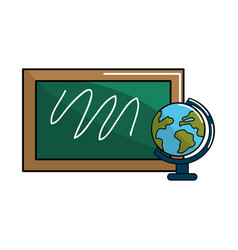 School board with earth planet desk vector