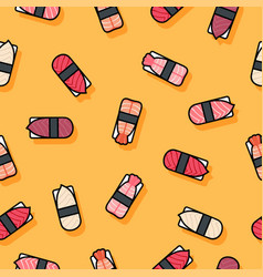 seamless pattern sushi yellow vector image