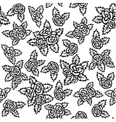 seamless pattern with bouquets of roses on a white vector image