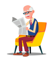 Senior age man in glasses reading a newspaper in a vector