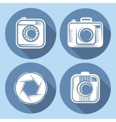 set hipster cameras or web icons with long vector image
