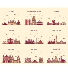 Set indian cities linear vector