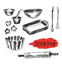 Set of kitchen utensils All baking vector