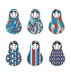 Set of russian traditional wooden toys babushka vector