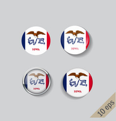 set round buttons with image iowa state vector image