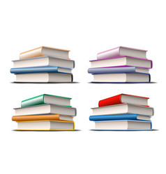 set stacks colorful books books various vector image
