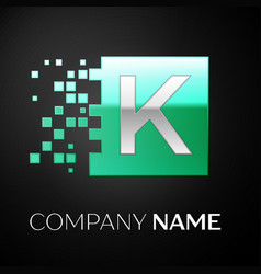 silver letter k logo symbol in the green square vector image