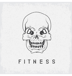 Skull with kettlebells in eyes grunge fitness vector