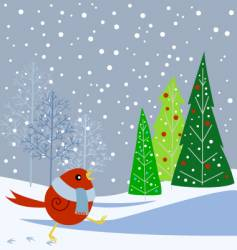 snowbird and trees vector image