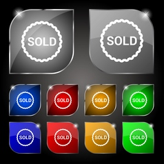 Sold icon sign Set of ten colorful buttons with vector