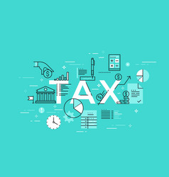 Thin line flat design banner for tax web page vector