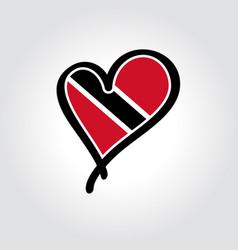 Trinidad and tobago flag heart-shaped hand drawn vector