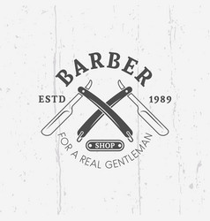 two crossed straight razorors barber shop emblem vector image