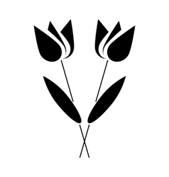 Two flowers icon in simple style vector image