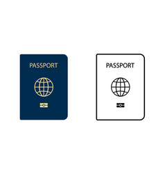 two template passport icon passport in flat vector image