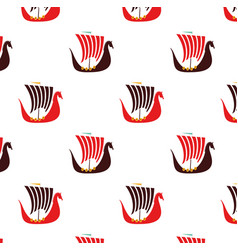 Viking boat flat pattern on white vector