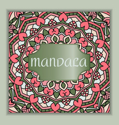 Vintage square card with mandala pattern and vector