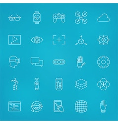 Virtual Reality Line Icons Set over Blurred vector