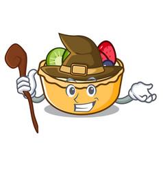 Witch fruit tart mascot cartoon vector