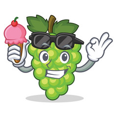with ice cream green grapes character cartoon vector image