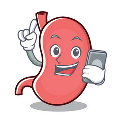 with phone stomach character cartoon mascot vector image