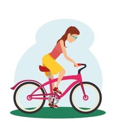 Woman in bicycle isolated icon vector