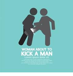Woman Kick A Man Symbol vector image
