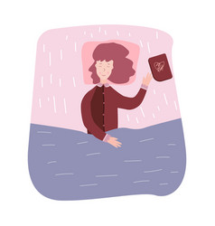 Woman sleeping and dream girl fell asleep reading vector
