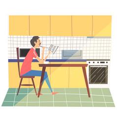 young man having breakfast in kitchen man in vector image