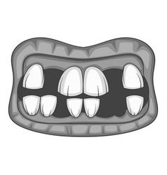 Zombie teeth icon monochrome vector