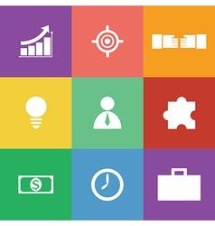 business icon set flat design vector image