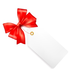 Card note with red gift bows with ribbons vector image vector image