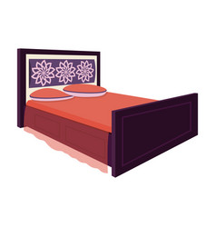 double bed with red sheetsbed with brown wooden vector image