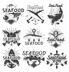 monochrome set of seafood emblems badges vector image vector image