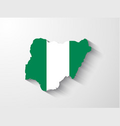 Nigeria map with shadow effect vector image