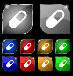 Pill icon sign set of ten colorful buttons with vector