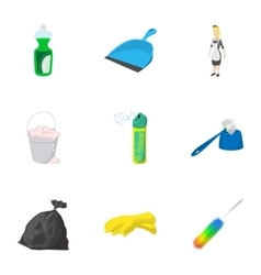 Sanitary day icons set cartoon style vector