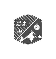 Ski Patrol Label Vintage Mountain winter sports vector image vector image