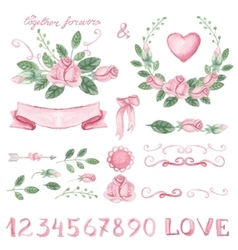 Watercolor pink floral decor set with numbers vector image vector image